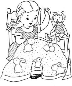 vintage quilting girl