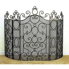 Iron Five Panel Fire Screen with Mesh Backing