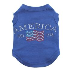 Classic American Rhinestone Dog Tank Top - Blue. Spice up your pup's 4th of July with this adorable patriotic top! Cotton blend dog tank top. American Flag and writing in rhinestones on shirt. Perfect for July 4th celebrations! Made in the U.S.A. Why We Love It: The Classic American Rhinestone Dog Tank is perfect for those Independence Day celebrations or for any summer bbq! This blue shirt with rhinestone embellishment from Mirage is comfortable and pull over style, making this a fun…