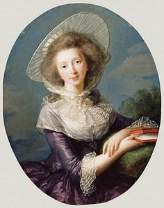 Such a glorious lavender silk and the hat is divine, along with the fichu    This is the portrait of the Vicomtesse de Vaudreuil it was painted by Elizabeth Vigée-Lebrun, she also painted several well known portraits of Marie Antoinette.