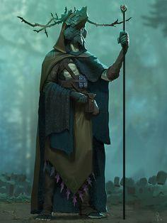 Obliskura - Forest Shaman, Alex Konstad : character concept for Obliskura, my dark fantasy personal project. http://www.huaban.com/pins/660096852