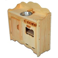 Christina's Kitchen is a cute and compact wooden play kitchen for budding bakers. Handcrafted in Maine by Elves & Angels from northern white pine. Free Shipping!
