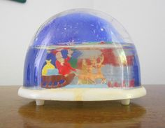 Vintage Christmas Snow Globe with Santa and his Sleigh . With his bags of toys and reindeer, and a red church in the background. So fun! Santa Snow Globe, Christmas Snow Globes, Antique Christmas Decorations, Vintage Christmas, My Childhood Memories, Vintage Santas, The Good Old Days, Old World, Reindeer