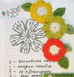 Crochet Motif Patterns, Crochet Diagram, Freeform Crochet, Crochet Chart, Irish Crochet, Crochet Stitches, Knit Crochet, Crochet Leaves, Crochet Flowers