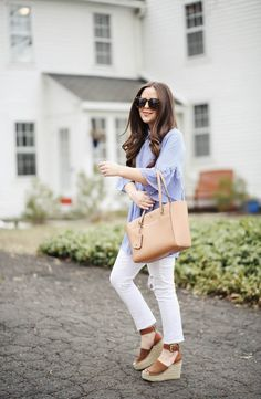 There is nothing I love more than blue and white stripes paired with crisp white jeans, especially in the spring.