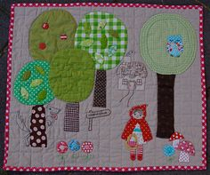 Red riding hood quilt.  See the wolf?