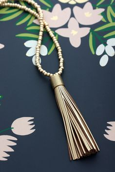 Leather Tassel Necklace - Gold