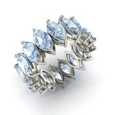 Marquise-Cut Aquamarine Ring in 14k White Gold
