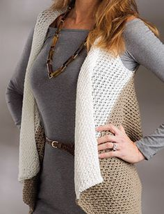 Knitting Pattern for Easy Caldew Vest - Easy draped front lace vest is essentially a rectangle with arm holes. Woman's S (M, L, XL, 2XL)