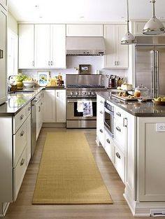 Kitchen - white cabinets dark countertops
