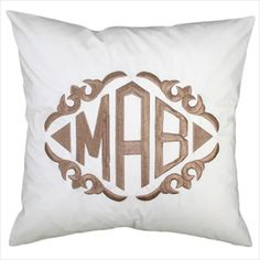monogrammed pillows and shams, more affordable than leontine.