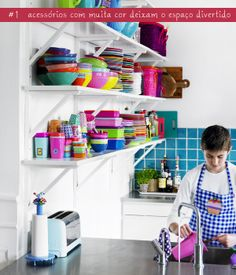 open shelves in the kitchen + colorful
