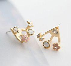 Lz joyería Hut E297 el 2014 moda de nueva blanco flores pendientes del Rhinestone para mujeres en Pendientes Cortos de Joyería en AliExpress.com | Alibaba Group
