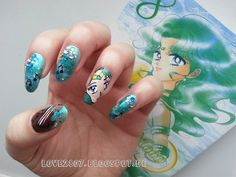 Sailor Neptun inspired nail art by http://love2807.blogspot.de/2013/04/sailor-neptune-nail-art.html