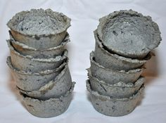 7 frugal ways to make homemade seed starter pots. Recycle old cereal boxes (or other light cardboard) and make paper mache seed pots. Make a paper pulp, add the secret ingredient (flour) and push the pulp into cupcake tins. Follow the link for full instructions.