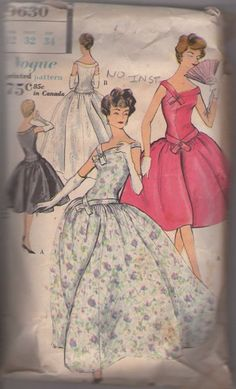 MOMSPatterns Vintage Sewing Patterns - Vogue 9630 Vintage 50's Sewing Pattern AMAZING, SPECTACULAR, SPLENDID Asymmetric Neckline Bands & Dropped Waist Evening Gown, Bouffant Full Skirt Party Dress, Wedding Dress NO INSTRUCTIONS