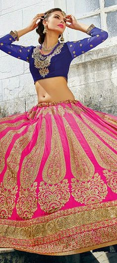 NEW BRIDAL WEAR - This collection will make you look #PrettyInPink!  #IndianWedding #Bride #Lehenga #GoldEmbroidery #lace #InidnaFashion #OnlineShopping #Partywear