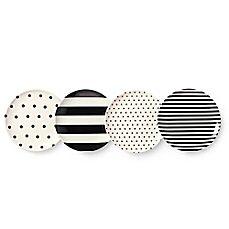 image of kate spade new york Raise a Glass 4-Piece Melamine Coaster Set in Black/White