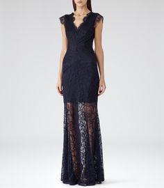 Womens Midnight Floral Lace Maxi Dress - Reiss Ambrosia