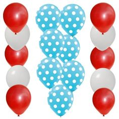 Amazon.com: 30 pc Dr Seuss Cat in the Hat Party Balloon Kit: 12 Red 12 White 6 Blue w White Dot Latex: Everything Else