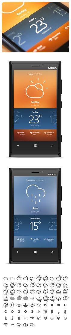 i liek the idea of a middle swipe navigation. You could add different views in there as well. Modern Windows Phone 8 weather app concept by Dorin Vancea App Ui Design, Mobile App Design, User Interface Design, Mobile Ui, Layout Design, Apps, Microsoft, Ui Design Inspiration, Design Ideas