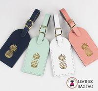Leather Luggage Tags - Palm Beach Pineapple - FREE SHIP