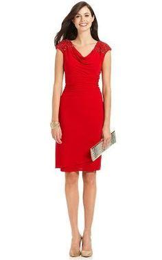 ALEX EVENINGS Designer Cocktail Dress. Visit Page - http://www.ebay.com/itm/ALEX-EVENINGS-Cap-Sleeve-Embellished-Shoulder-Lipstick-Red-Cocktail-Dress-Size-8-/121414757460?roken=cUgayN
