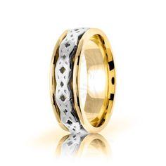 Two Tone 10k Yellow-white-yellow Gold Celtic Dara Knot Wedding Band Polish 7mm 01700