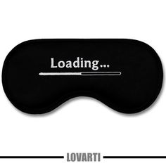 Great and funny sleeping sleep mask / eyemask LOADING - black satin with white embroidery. INGENIOUS GIFT for men! :) by LOVARTI (42.00 PLN)