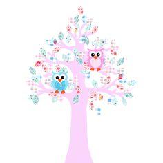 Een prachtige met de hand gemaakte behangboom met de kleuren blauw en roze. Erbij twee uiltjes. Een super blikvanger in de kinderkamer.