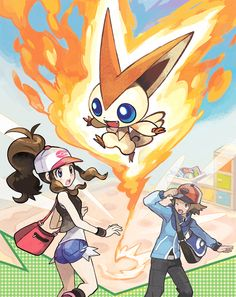 Pokémon trainers Black and White plus Victini.