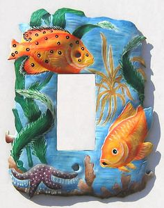 Light Switch Plate Covers- Tropical Fish, Painted metal rocker switchplate cover, Light Switch Cover, Decorative Switch Plates - by SwitchPlateDecor on Etsy Decorative Light Switch Covers, Switch Plate Covers, Light Switch Plates, Painted Metal, Metal Art, Hand Painted, Fish Wall Art, Animal Room, Funky Art