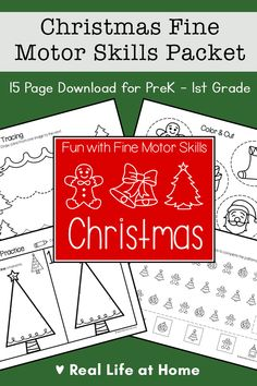 This post includes a 15 page Christmas Fine Motor Skills Packet for preschool, kindergarten, and 1st grade with activities that include tracing, cutting, coloring, and more. Motor Skills Activities, Preschool Learning Activities, Fine Motor Skills, Preschool Kindergarten, Printable Activities For Kids, Christmas Activities For Kids, Free Printables, Christmas Crafts, Self Inking Stamps