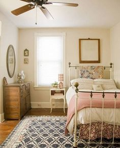 Cottage/Country bedroom, brass bed, quilts, feed sack pillow, and gingham... so sweet