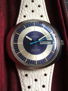 Pre owned Omega Dynamic from the mid 70's with Dynamic box, original white perforated strap £650.00 www.staffordhall.com Omega Dynamic, Omega Automatic, Pre Owned Watches, Fine Watches, Box, Accessories, Snare Drum, Nice Watches, Jewelry Accessories