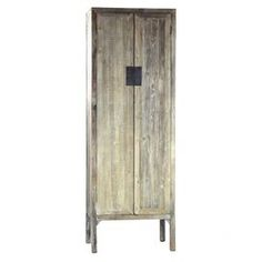 Recycled wood cabinet with two doors and four interior shelves.   Product: CabinetConstruction Material: Recycled woodColor: Weathered greyFeatures: Two doorsFour interior shelvesDimensions: 90.55 H x 31.5 W x 22.05 D