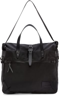 Nanamica: Black Cordura & Leather Briefcase | SSENSE