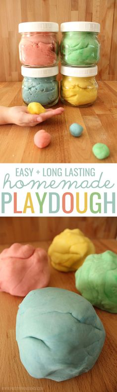 Easy Long Lasting Homemade Playdough is part of Homemade crafts For Toddlers - This is the BEST easy homemade playdough ever! This recipe makes playdough just the right consistency, is safe for kids of all ages and lasts a long time! Toddler Fun, Toddler Activities, Activities For Kids, Projects For Kids, Diy For Kids, Crafts For Kids, Kids Fun, Easy Homemade Playdough Recipe, Homade Playdough