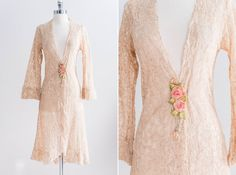 1920s French Peach Lace Robe With Silk Ribbon by EmmelineChic, $516.00