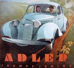 ADLER Ads (Germany 1930's-40s) Art by Bernd Rueters (1901 - 1958). https://en.wikipedia.org/wiki/Adler_(automobile)