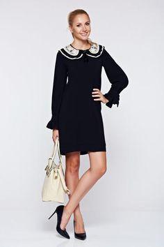 Rochie LaDonna neagra eleganta cu croi larg guler detasabil - http://hainesic.ro/rochii/rochie-ladonna-neagra-eleganta-cu-croi-larg-guler-detasabil-eb520136e-starshinersro/