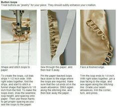 Who knew how easy button loops could be? Tutorial from Threads Magazine Who knew how easy button loops could be? Tutorial from Threads Magazine Diy Clothing, Sewing Clothes, Clothing Patterns, Sewing Patterns, Sewing Hacks, Sewing Tutorials, Sewing Crafts, Sewing Projects, Sewing Tips