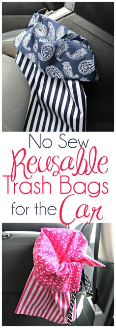 No Sew Reusable Trash Bags for the Car In case you are like me you reside and. No Sew Reusable Trash Bags for the Car In case you are like me you reside and breathe style. You happen to be consta Trash Can For Car, Car Trash, Trash Bag, Sewing Tutorials, Sewing Projects, Sewing Patterns, Sewing Ideas, No Sew Projects, Cricut Tutorials