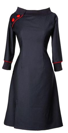 Jeanet - Black/Red  http://ecouture.dk/kleider-1/jeanett-black-red.html?___store=gb&___from_store=gb  DRESS IN ORGANIC COTTON  The dress is made of a stunningly beautiful wool. It is lined with a very comfortable bamboo-silk. Collar and cuffs in black cotton rib. An elasticated panel at the back and side zipper to make it more flexible.
