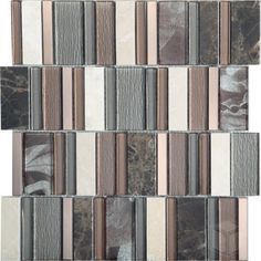 Cinnamon Stripes- Grey and Brown Color Glass and Stone Blend Mosaic Tile #grey-brown_mosaic_tile #stone_blend_marble_tile