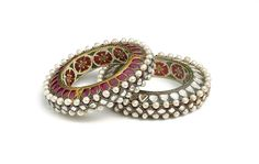 Pair of Bangles (kada). Object Name: Bangles. Date: ca. 1775–1825. Geography: North India, Jaipur. Medium: Gold, set with rubies, diamonds, and pearls; enamel on interior; lac core.