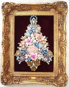 Vintage Jewelry Art Framed Christmas Bouquet Tree Porcelain Flowers Rhinestones | eBay $265