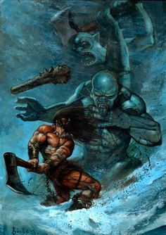 conan vs frost giants - Simon Bisley