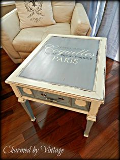 Paris Blue French side table by CharmedByVintage on Etsy