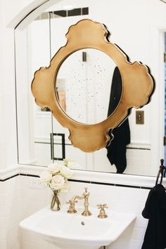 layered bathroom mirrors.